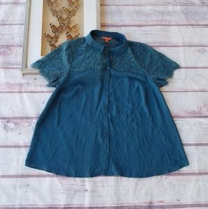 Modcloth Sheer Lace Button Down Plus Blouse 1X
